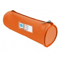 Trousse ronde 1 compartiment 22cm orange