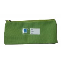 Trousse plate 1 compartiment 21cm verte
