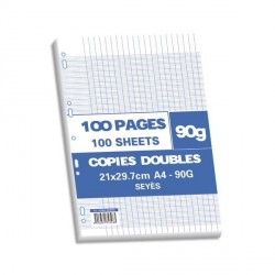 Sachet de 100 pages A4 copies doubles 90 grs seyès