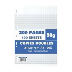 Sachet de 200 pages A4 copies doubles 90 grs 5x5