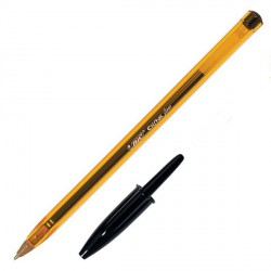 Stylo bille noir Cristal Orange fin Bic