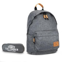 Sac à dos 1 compartiment gris + trousse offerte Lee Cooper
