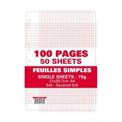 Sachet de 100 pages feuillets mobiles 70G 5x5 A4