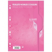 Feuillets mobiles A4 100P seyes 80G rose Calligraphe