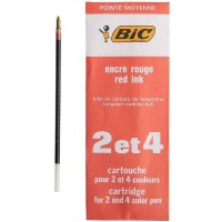 Recharge rouge pointe moyenne stylo bille 4 couleurs Bic