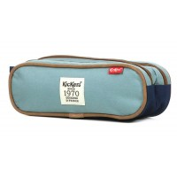 Trousse Kickers bleu gris 2 compartiments 24 cm