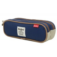 Trousse Kickers rouge beige 2 compartiments 24 cm