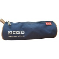 Trousse ronde Kickers denim camel 22 cm