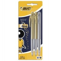 Blister de 3 stylos bille rétractables M10 Shine Bic