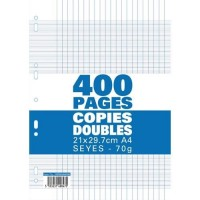Sachet de 400 pages copies doubles 70 grs seyès