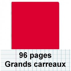 Cahier polypro 17X22 96P piqure seyes rouge