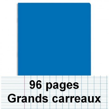 Cahier polypro 24X32 cm 96 pages piqure seyès bleu