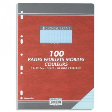 Feuillets mobiles A4 100P seyes 80G bleu HAMELIN