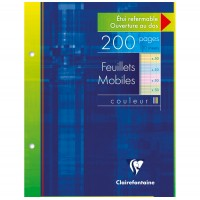 FEUILLETS MOBILES 17X22 200 PAGES SEYES ASSORTIS CLAIREFONTAINE