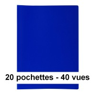 Protège-documents bleu 40 vues 20 pochettes 24X32 cm polypro