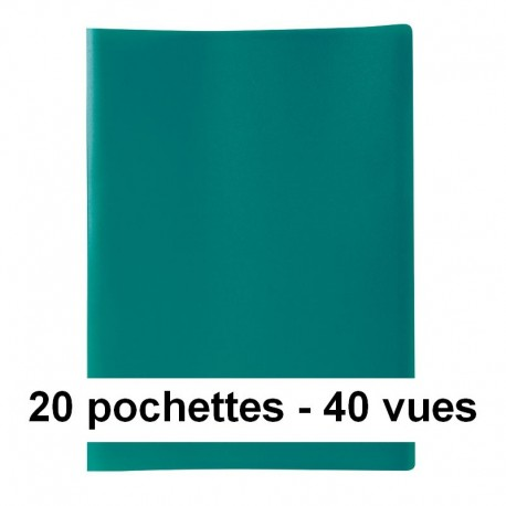 prot ge documents vert 40 vues 20 pochettes 24x32 cm polypro pas cher. Black Bedroom Furniture Sets. Home Design Ideas