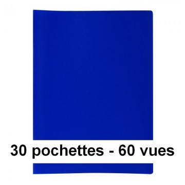 Protège-documents bleu 60 vues 30 pochettes 24X32 cm polypro