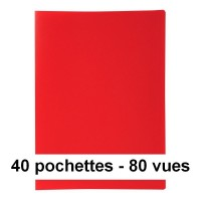 Protège-documents rouge 80 vues 40 pochettes 24X32 cm polypro
