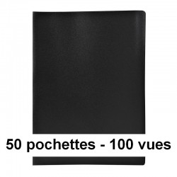 Protège-documents noir 100 vues 50 pochettes 24X32 cm polypro