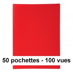 Protège-documents rouge 100 vues 50 pochettes 24X32 cm polypro