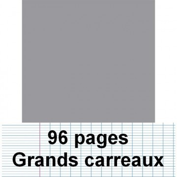 Cahier polypro 17X22 96P piqure seyes gris