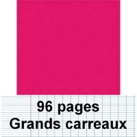 Cahier polypro 17X22 96P piqure seyes rose