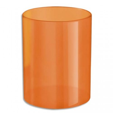 Pot à crayons rond orange translucide polystyrène