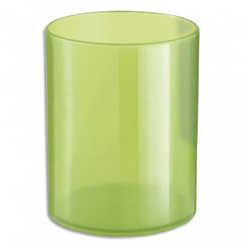 Pot à crayons rond vert translucide polystyrène