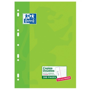 Etui carton de copies doubles A4 200 pages 5x5 90grs Oxford