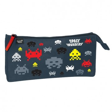 Trousse plate 1 compartiment Space Invaders 23cm