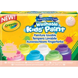 Kit de 6 pots 59ml de peinture lavable fluo Crayola