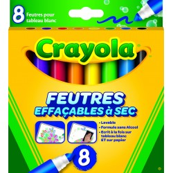 Pochette de 8 feutres effaçables à sec tableaux blancs Crayola