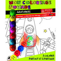 Boîte de 5 feuilles de coloriage nomade Aventuriers avec crayon 7 couleurs Bouchut