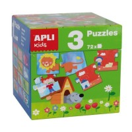 Boîte cube de 3 jeux puzzles animaux ferme et saisons Apli Kids