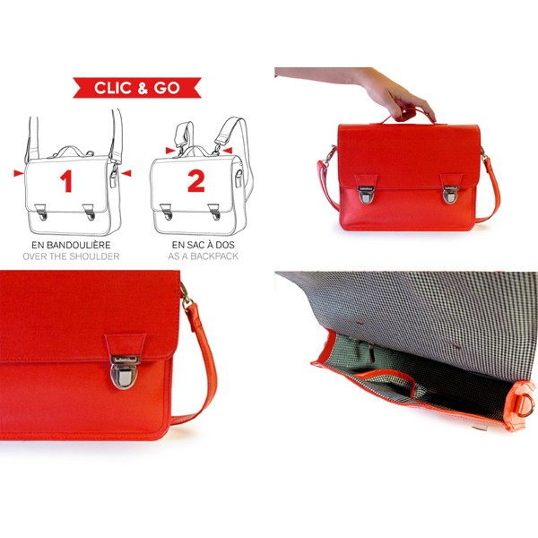 premium selection 5e50a 7ee51 Mini sac cartable 1 compartiment 27 cm rouge Miniséri