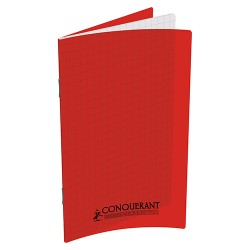 Carnet piqure polypro 9x14 96P 5X5 rouge CONQUERANT