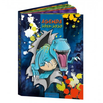 Agenda scolaire 12,5x17,5 cm Dinosaure bleu Bouchut 2019/2020