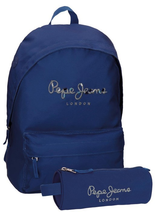 Sac Harlow À Jeans 1 Pepe CompartimentTrousse Bleu Pack Dos 0m8nNw