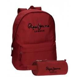 Pack sac à dos 1 compartiment + trousse rouge Pepe Jeans Harlow