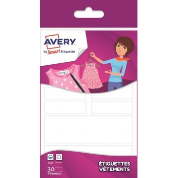 Sachet de 30 étiquettes vêtement autocollantes Family Avery