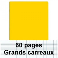 Cahier polypro 17X22 60P piqure seyes jaune