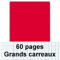 Cahier polypro 17X22 60P piqure seyes rouge