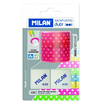 Taille-crayons + 2 gommes Duet Look rose Milan