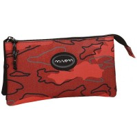 Trousse rectangulaire 3 compartiments 22cm Movom Camo rouge