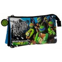 Trousse rectangulaire 3 compartiments 22cm Tortues Ninja