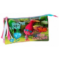 Trousse rectangulaire 3 compartiments 22cm Trolls