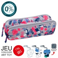Trousse 2 compartiments réversible Toucan avec Art Toy Bodypack