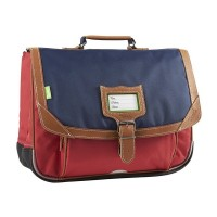 Cartable Tann's 2 compartiments bleu et rouge Amsterdam 38cm