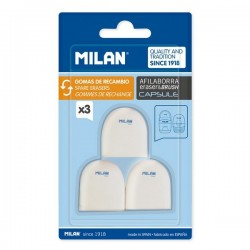 Milan blister 3 gommes de rechange taille-crayons+gomme Capsule BNM10258