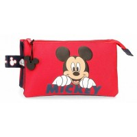 Trousse scolaire Mickey 3 compartiments 22cm rouge Happy 2534361